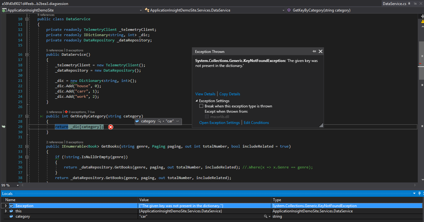 Visual Studio debug snapshot
