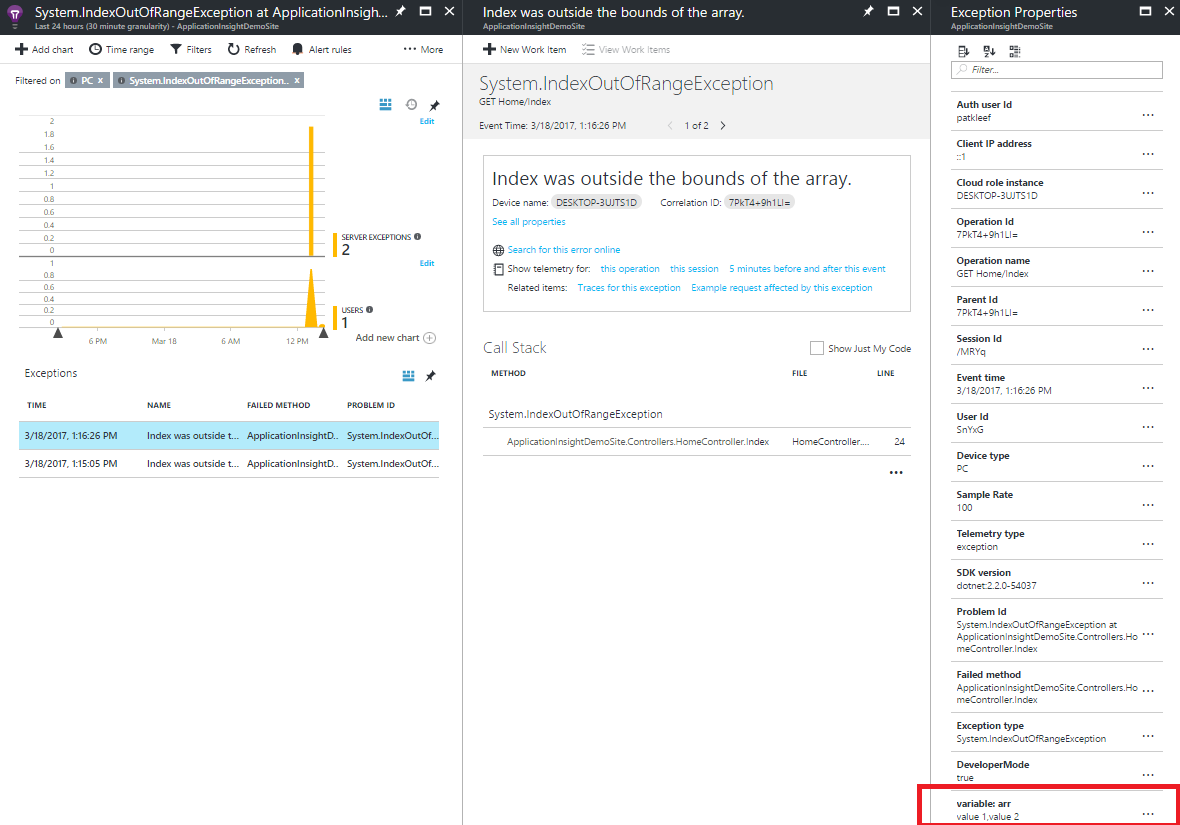 Application Insights exception detail information