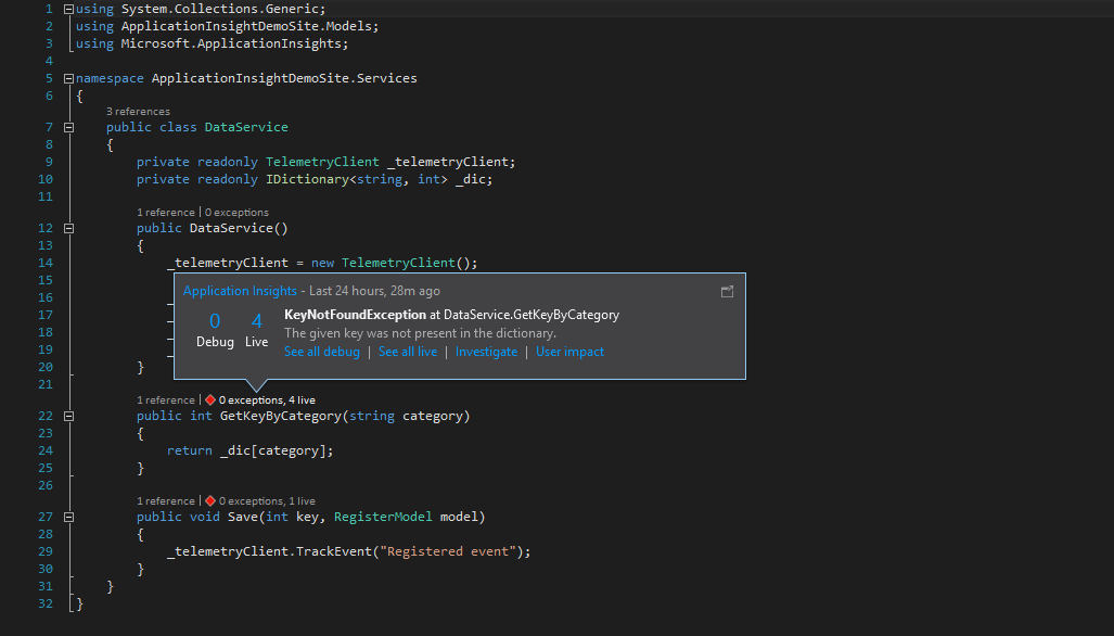 Application insights integrated in Visual Studio